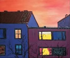 Ikkunan takana valo / 2020 / 50 x 60 cm / Akryylimaalaus, ikkunoiden päällä lasite / MYYTY