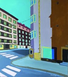 Käy peremmälle / 2020 / 80 x 70 cm / Akryylimalaalaus, ikkunoiden päällä lasite / MYYTY