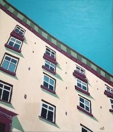 Keskipäivän aurinko / 2020 / 70 x 60 cm / Akryylimaalaus, ikkunoiden päällä lasite / MYYTY