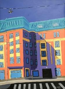 Kun saapuu kevät / 2020 / 60 x 50 cm / Akryylimaalaus, ikkunoiden päällä lasite / MYYTY