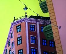 Kuulen sun soiton / 2020 / 41 x 50 cm / Akryylimaalaus, ikkunoiden päällä lasite / MYYTY