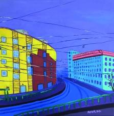 Matkalla ei minnekään / 2020 / 41 x 41 cm / Akryylimaalaus, ikkunoiden päällä lasite / MYYTY