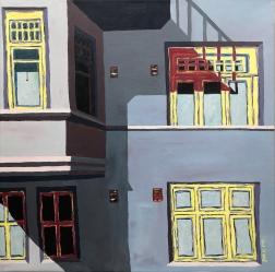 Työrauha / 2019 / 70 x 70 cm / Akryylimaalaus, ikkunoiden päällä lasite / MYYTY
